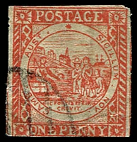 Lot 676:1850 Sydney Views With Clouds Hard Toned White to Yellowish Paper 1d dull carmine forgery of SG #8.