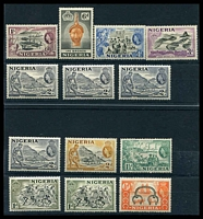 Lot 26472:1953-58 QEII PIctorials SG #69-76 ½d to 1/- incl both 1d types and both types & shades of 2d grey, Cat £28. (13)