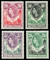 Lot 4132:1953 Giraffes & Elephants SG #71-4 2/6d to 20/-, Cat £75. (4)