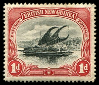 Lot 4296:1901-05 British New Guinea Wmk Horizontal SG #2 1d black & carmine, MNG, Cat £19.