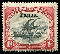 Lot 4152:1906 Large 'Papua' Wmk Vertical SG #22 1d black & carmine, Cat £18.