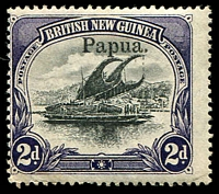 Lot 4299:1906 Large 'Papua' Wmk Vertical SG #23 2d black & violet, Cat £17.