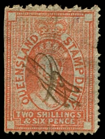 Lot 7588:1871-72 Wmk Large Crown & Q With Burelé Band SG #F29 2/6d vermilion, Cat £160, with pencil cancel.