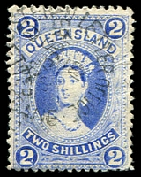 Lot 1639:1882-95 Large Chalons Wmk 3rd Crown/Q Thick Paper SG #157 2/- bright blue, Cat £65.