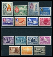Lot 4425:1955-59 QEII Pictorials SG #38-52 set of 15, hinge rems, Cat £130.