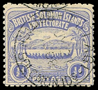Lot 27463:1907 Large Canoes SG #1 ½d ultramarine, Cat £14.