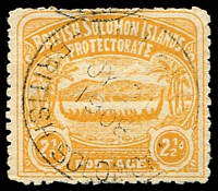 Lot 4371:1907 Large Canoes SG #4 2½d orange-yellow, Cat £50.