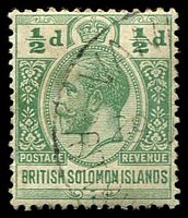Lot 4372:1914-23 'POSTAGE REVENUE' Wmk Crown/CA SG #22 ½d green, Cat £12.