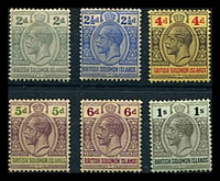 Lot 4430:1914-23 'POSTAGE REVENUE' Wmk Crown/CA SG #26-33 2d to 1/-, excl 3d, Cat £43.
