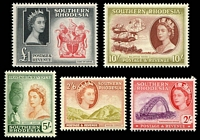 Lot 4183:1953 QEII Pictorials SG #87-91 2/- to £1, Cat £78. (5)
