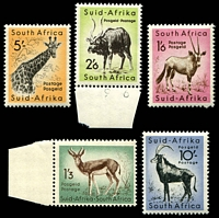 Lot 4386:1954 Pictorials Wmk Multi Antelope SG #160-4 1/3d to 10/-, Cat £29. (5)