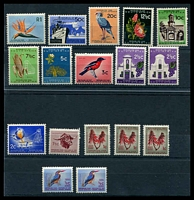 Lot 4387:1961-63 New Pictorials Wmk Multi Arms SG #198-210 complete set of 13 plus both types of ½c & 2½c and three types of 1c, Cat £28. (17)