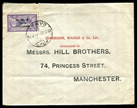 Lot 4204:1922 (Feb 28) use of 3pi on 60c Merson on cover from Damas to Manchester.