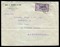 Lot 28763:1922 (Apr 28) use of 3pi on 60c Merson on cover from Beyrouth to Manchester.