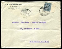 Lot 28769:1923 (Jul 10) use of 2.50pi on 50c blue Sower on cover from Beyrouth to Manchester.