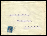 Lot 4422:1923? use of red 2pi on 25c blue Sower on cover to Manchester.
