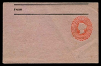 Lot 2229:1882 HG #KE2 ½d red on rose wove paper, 110x279mm, fresh unused.