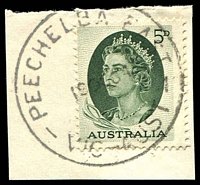 Lot 2689:Peechelba East: - WWW #20 'PEECHELBA EAST/19OC64/VIC-AUST' on 5d green. [Rated PPP]  PO 19/3/1928; closed 30/6/1969.