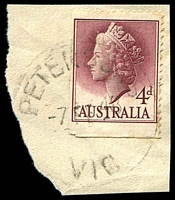 Lot 2866:Peterson's: - WWW #10 'PETERSONS/7FE48/VIC.' (error for 1959) on 4d QEII.  RO c.1902; PO 1/7/1927; closed 7/3/1968.