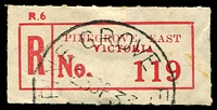 Lot 2874:Pine Grove East: - WWW #20 'PINE GROVE E[AST]/25SP33/[VIC.]' on red C4 registration label.  PO 16/11/1887; RO 1/8/1917; PO 1/7/1927; closed 31/3/1955.
