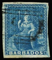 Lot 3693:1855-58 Britannia on White Paper SG #10 (1d) deep blue 4 nice margins, Cat £60.