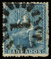 Lot 20117:1861-70 Britannia No Wmk, Rough Perf 14-16 SG #23 (1d) blue.