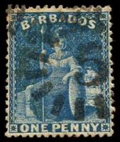 Lot 3697:1874-75 Britannia Wmk Large Star Perf 14 SG #66 1d deep blue, cancelled with '5' of St. Johns.