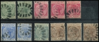 Lot 3698:1882-86 QV Wmk Crown/CA SG #89-99 ½d x2, 1d x3, 2½d x2, 4d green, 4d brown x3, several different shades, Cat £20+. (11)