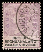 Lot 16997:1888 Fiscal Desgins Wmk Orb SG #10 1d lilac & black, canceled with fine part strike of 'PA[LACHWE]/OC?/90/KHAMAS TO[WN]