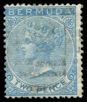 Lot 3150:1865-1903 QV Wmk Crown/CC Perf 14 SG #3 2d dull blue, Cat £40