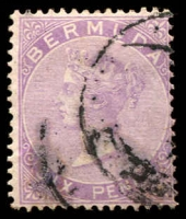 Lot 3712:1865-1903 QV Wmk Crown/CC Perf 14 SG #6 6d dull purple, Cat £75.