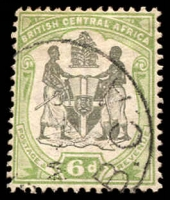 Lot 3164:1897-1900 Arms Wmk Crown/CA SG #46 6d black & green.