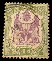Lot 19667:1901 Arms Wmk Crown/CA SG #57e 4d dull purple & olive-green, Cat £11.
