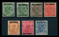 Lot 17401:1937 Burma Overprints on India KGV SG #2-8 1a red to 3a6p, Cat £18. (7)
