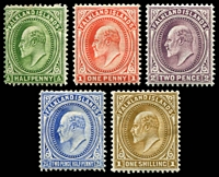 Lot 21756:1904-12 KEVII SG #41-6,48 ½d to 2½d & 1/-, Cat £108. (5)
