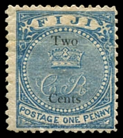 Lot 21114:1872 'CR' Surcharges SG #13a 2c on 1d deep blue, small thin, Cat £55.