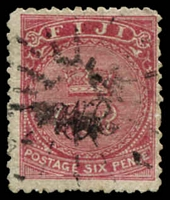 Lot 21119:1876-77 'VR' Underprint on Laid Paper SG #33a 6d carmine-rose, Cat £42.