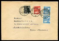 Lot 3625:1947 (Sep 20) use of 2pf, 8pf & 20pf pair on cover to France.