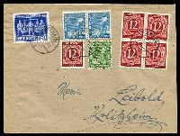 Lot 22659:1948 (Jun 22) use of 10pf, 12pf x5, 20pf & 50pf Hanover Fair