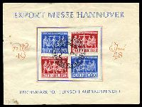 Lot 3501 [1 of 2]:1948 Hanover Export Fair: Mi #969-70 se-tenant block of 4 (50,24/24,50 - cat €80) on Fair sheet (minor faults) with special cancel.