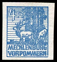 Lot 22694:1946 Pictorials: Mi #30I 4pf blue with Scratch through base of MERN, Cat €120.