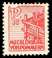 Lot 4001:1946 Pictorials: Mi #36I 12pf red with White flaw above 12, MNG, Cat €10.
