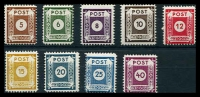 Lot 4002:1945 Numerals Perf 11½: Mi #42DIII-50DIII set of 9, CTO cancel, Cat €160.