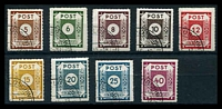 Lot 3518:1945 Numerals Roulette 9½-11: Mi #42G-50G set of 9, CTO cancel, Cat €120.