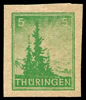 Lot 4003:1945-46 Definitives: Mi #94AYbyU 5pf emerald-green economy gum imperf, Cat €120.