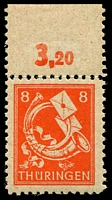 Lot 3519:1945-46 Definitives: Mi #96AXII 8pf orange-red full gum marginal single with Break in mouth of horn, Cat €16.
