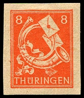 Lot 4004:1945-46 Definitives: Mi #96AYyU 6pf red-orange economy gum imperf, Cat €70.