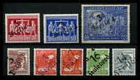 Lot 3773 [2 of 2]:1948 Postal Districts Ovpts: 'd 20/Wolfen' on Workers set of 16, plus '3/Berlin 4' on 1948 Hanover pair & 1947 60+40 Leipzig, '3/Berlin 8' on 60pf & '3/Berlin 9' on 8pf, 'a 27/Pausa' on 8pf, '16/Zeulenroda' on 10pf & '14/Freital' on 12pf. (24)