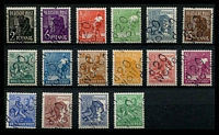 Lot 3773 [1 of 2]:1948 Postal Districts Ovpts: 'd 20/Wolfen' on Workers set of 16, plus '3/Berlin 4' on 1948 Hanover pair & 1947 60+40 Leipzig, '3/Berlin 8' on 60pf & '3/Berlin 9' on 8pf, 'a 27/Pausa' on 8pf, '16/Zeulenroda' on 10pf & '14/Freital' on 12pf. (24)