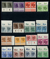 Lot 3774:1948 Surcharges: Mi #182-97 set of 16 in MUH marginal pairs, Cat €32+.